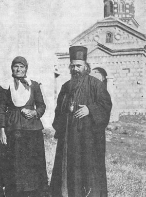 Bishop Nikolai with his Mother, Katarina, outside their hometown village Church, Lelich, Serbia, 1932.