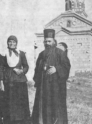 Bishop Nikolai with his Mother, Katarina, outside their hometown village Church, Lelich, Serbia, 1932.