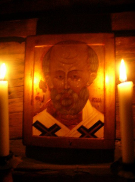 Icon of St. Nicholas of Myra, by the hand of the late Canadian iconographer, and our friend, Heiko Schlieper. This icon is within a log cabin Heiko built at his property in the Eastern Townships of Quebec.
