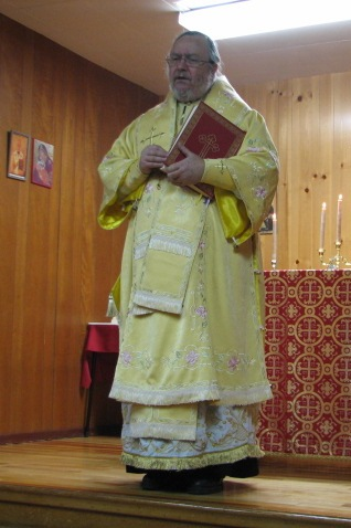 His Grace, Bishop Irénée, giving the homily during the Divine Liturgy, Thursday, December 19, 2012.