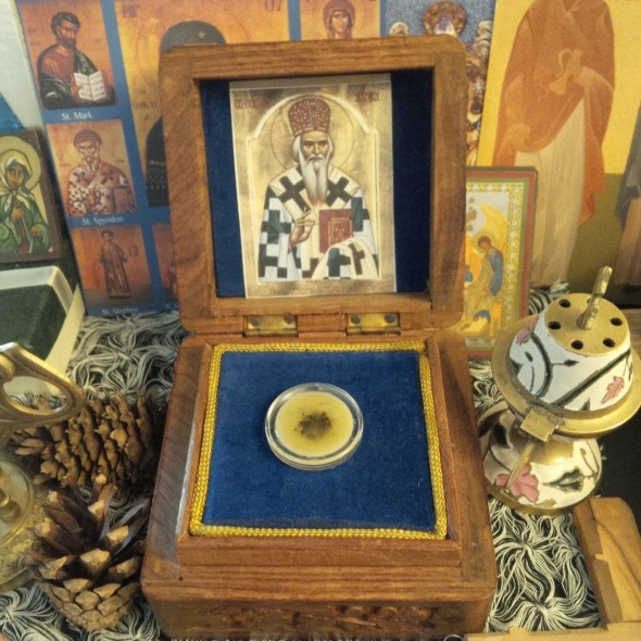 The relic of St. Nikolai, housed in a small wooden reliquary, a gift from Archbishop Lazar and the Monastery of All Saints of North America.